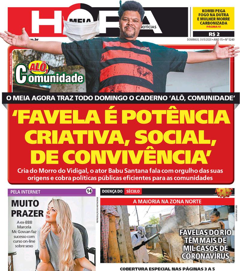 Capa do jornal Meia Hora 31/05/2020