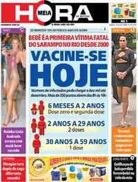 Capa do jornal Meia Hora 15/02/2020