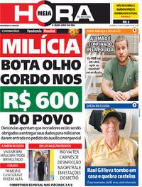 Capa do jornal Meia Hora 19/04/2020