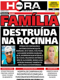Capa do jornal Meia Hora 20/04/2020