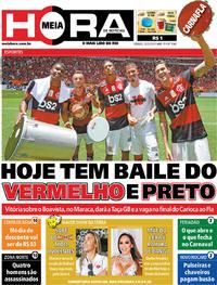 Capa do jornal Meia Hora 22/02/2020