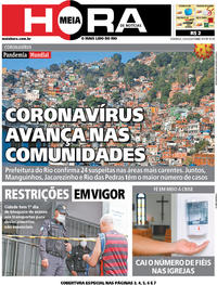 Capa do jornal Meia Hora 22/03/2020