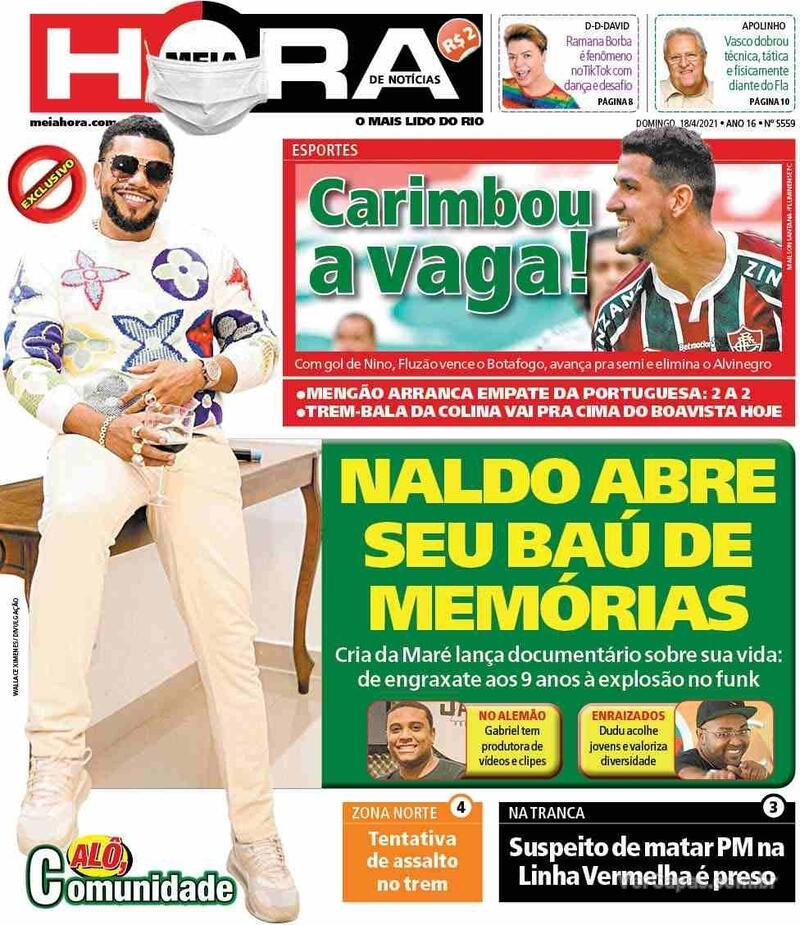 Capa do jornal Meia Hora 18/04/2021