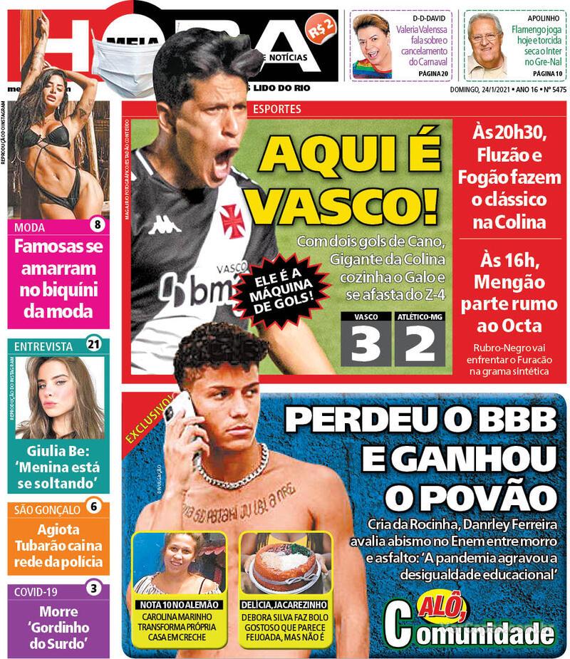 Capa do jornal Meia Hora 24/01/2021
