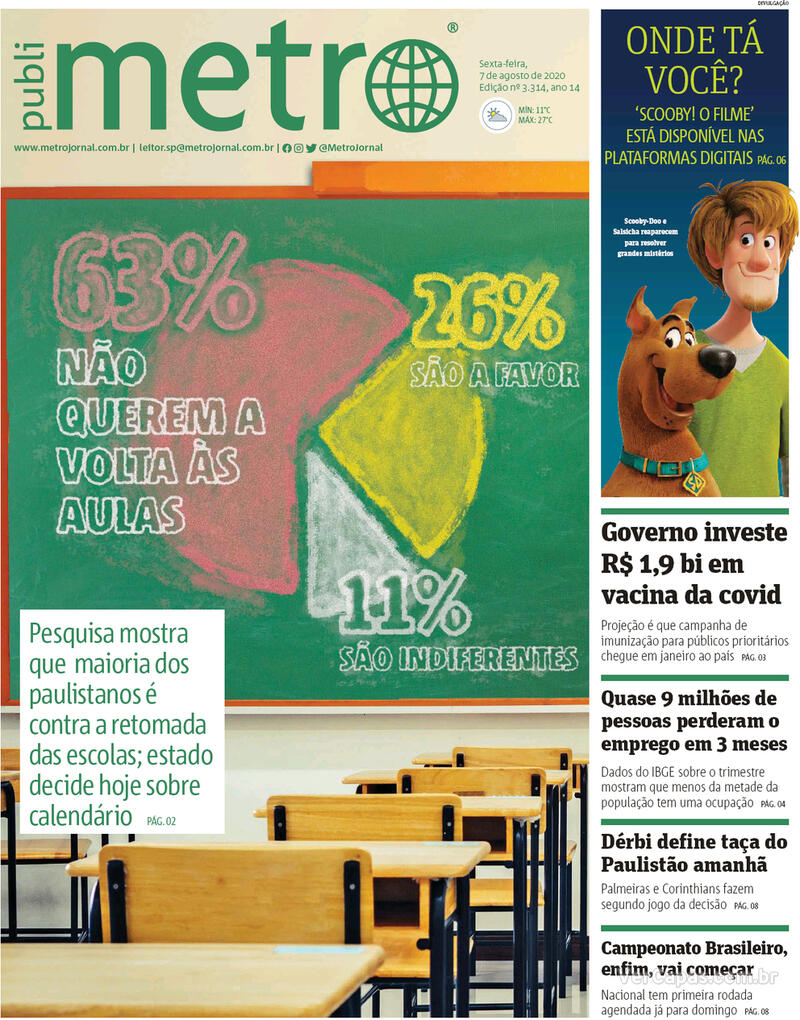 Capa do jornal Metro Jornal São Paulo 07/08/2020