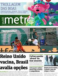 Capa do jornal Metro Jornal São Paulo 03/12/2020