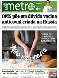 Capa do jornal Metro Jornal São Paulo 12/08/2020