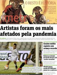 Capa do jornal Metro Jornal São Paulo 16/09/2020