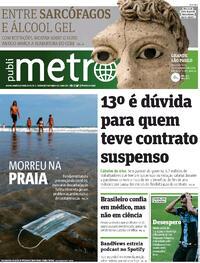 Capa do jornal Metro Jornal São Paulo 19/10/2020
