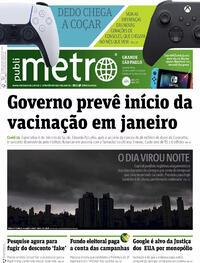 Capa do jornal Metro Jornal São Paulo 21/10/2020
