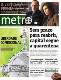 Capa do jornal Metro Jornal São Paulo 29/05/2020