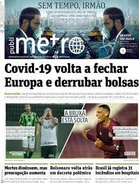Capa do jornal Metro Jornal São Paulo 29/10/2020