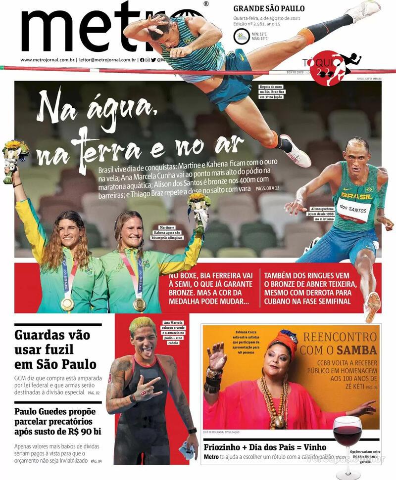 Capa do jornal Metro Jornal São Paulo 04/08/2021