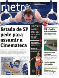 Capa do jornal Metro Jornal São Paulo 03/08/2021
