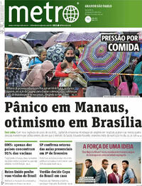 Capa do jornal Metro Jornal São Paulo 15/01/2021