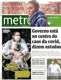 Capa do jornal Metro Jornal São Paulo 16/04/2021