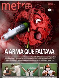 Capa do jornal Metro Jornal São Paulo 18/01/2021