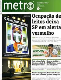 Capa do jornal Metro Jornal São Paulo 22/01/2021