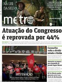Capa do jornal Metro Jornal São Paulo 24/09/2021