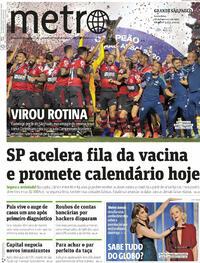 Capa do jornal Metro Jornal São Paulo 26/02/2021