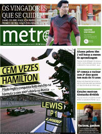 Capa do jornal Metro Jornal São Paulo 27/09/2021