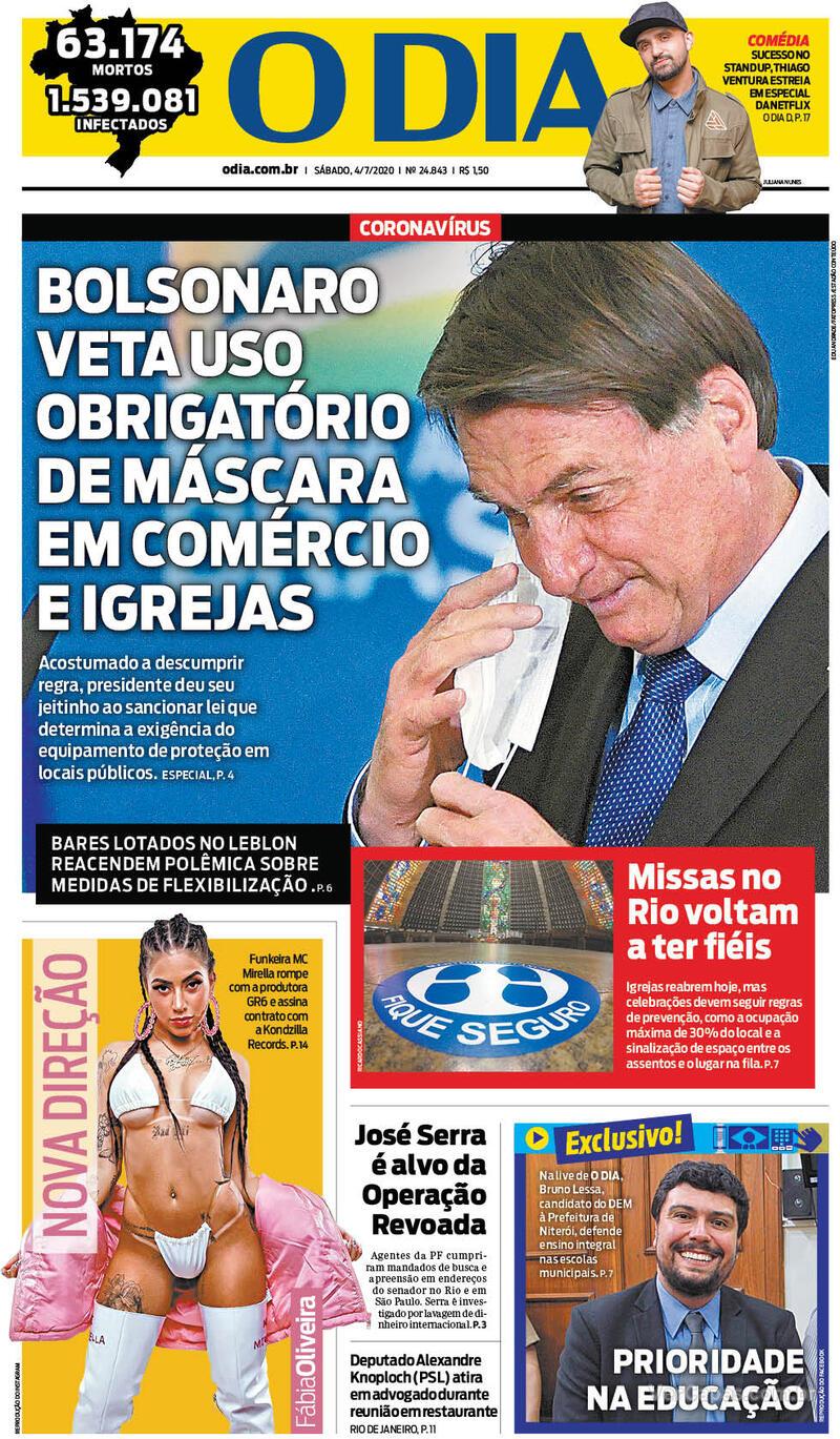 Capa do jornal O Dia 04/07/2020