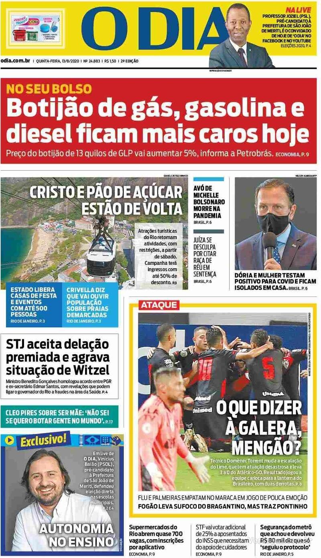 Capa do jornal O Dia 13/08/2020