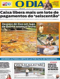 Capa do jornal O Dia 04/08/2020