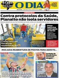 Capa do jornal O Dia 09/07/2020