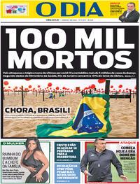 Capa do jornal O Dia 09/08/2020