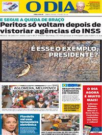 Capa do jornal O Dia 19/09/2020