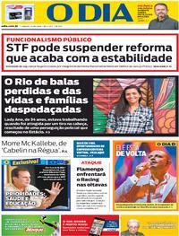 Capa do jornal O Dia 24/10/2020