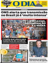 Capa do jornal O Dia 26/05/2020