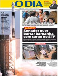 Capa do jornal O Dia 31/05/2020