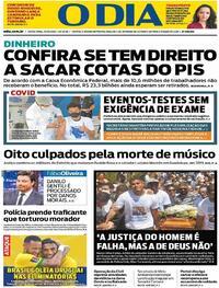 Capa do jornal O Dia 15/10/2021