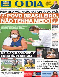 Capa do jornal O Dia 18/01/2021