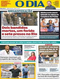 Capa do jornal O Dia 19/06/2021