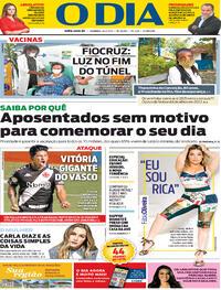 Capa do jornal O Dia 24/01/2021