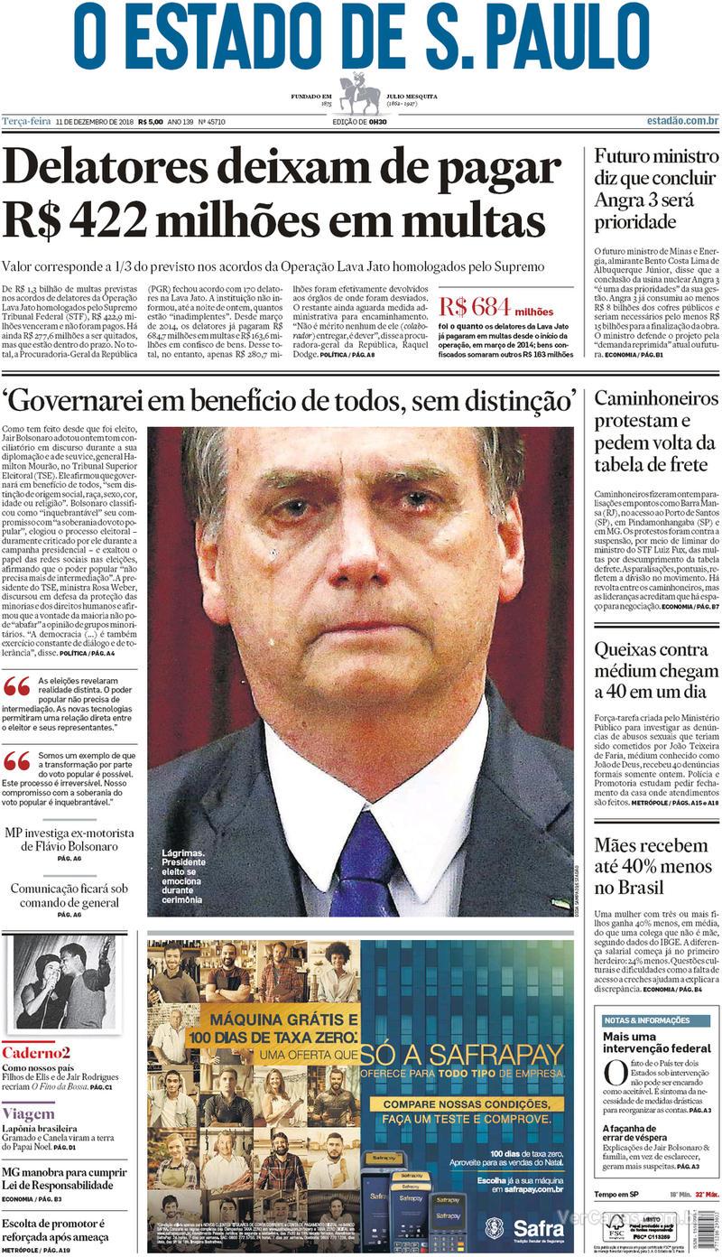 Capa O Estado de Sao Paulo 2018-12-11