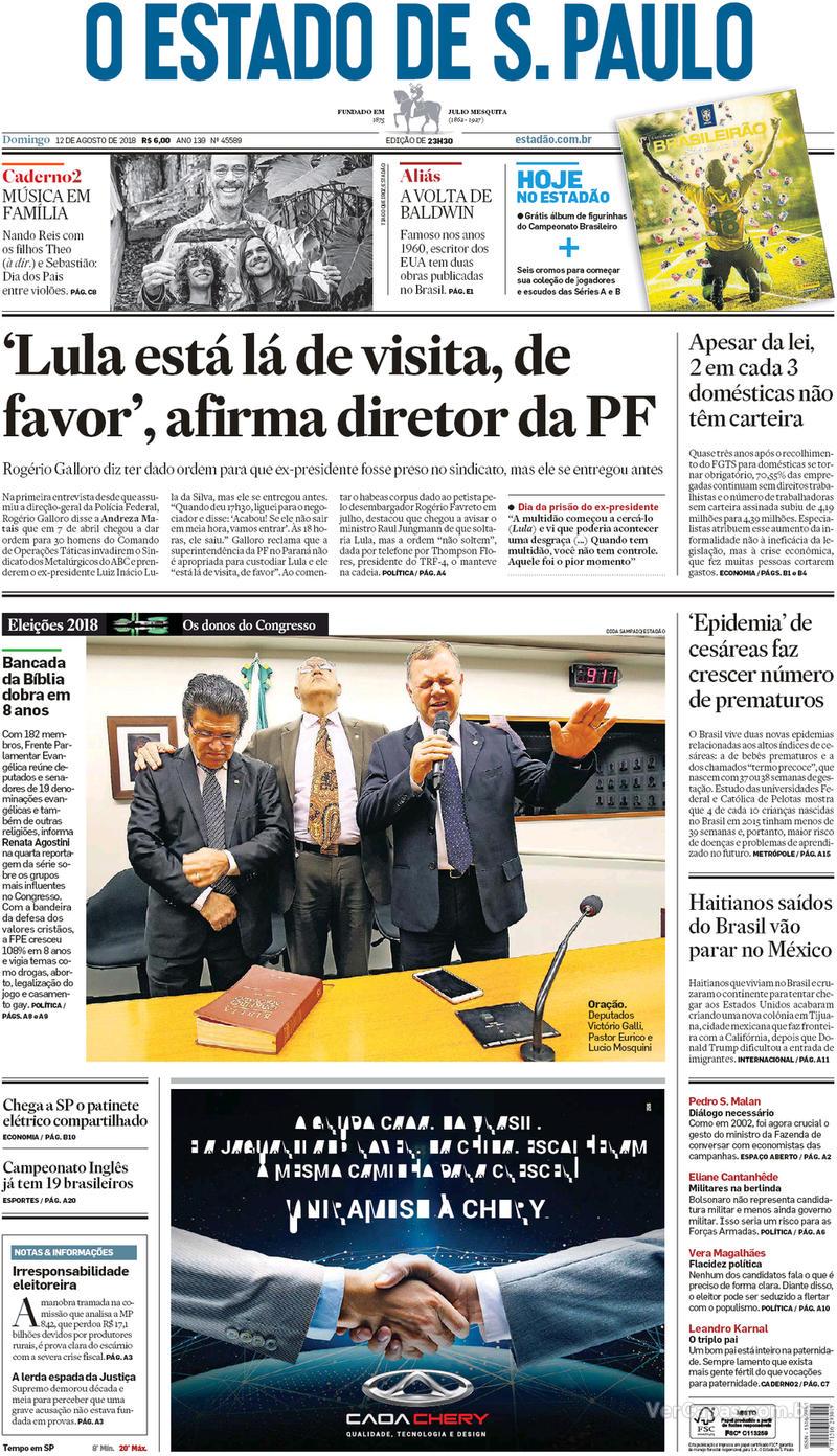 Capa O Estado de Sao Paulo 2018-08-12