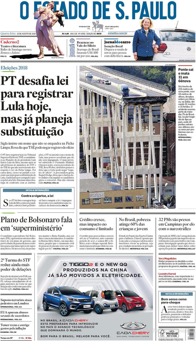 Capa O Estado de Sao Paulo 2018-08-15