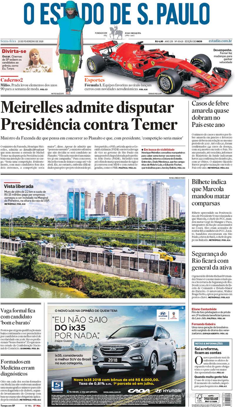 Capa O Estado de Sao Paulo 2018-02-23