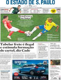 Capa O Estado de Sao Paulo 2018-06-18