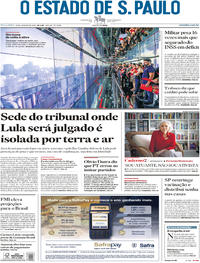 Capa O Estado de Sao Paulo 2018-01-23