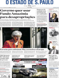 Capa Jornal O Estado de Sao Paulo 25/05/2019