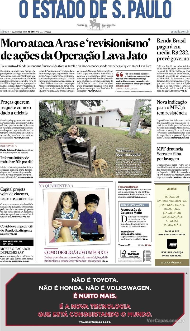 Capa do jornal O Estado de Sao Paulo 04/07/2020