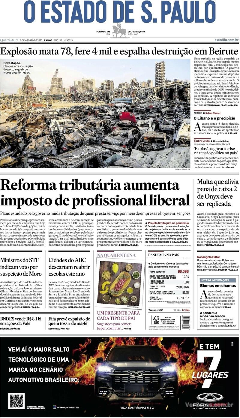 Capa do jornal O Estado de Sao Paulo 05/08/2020