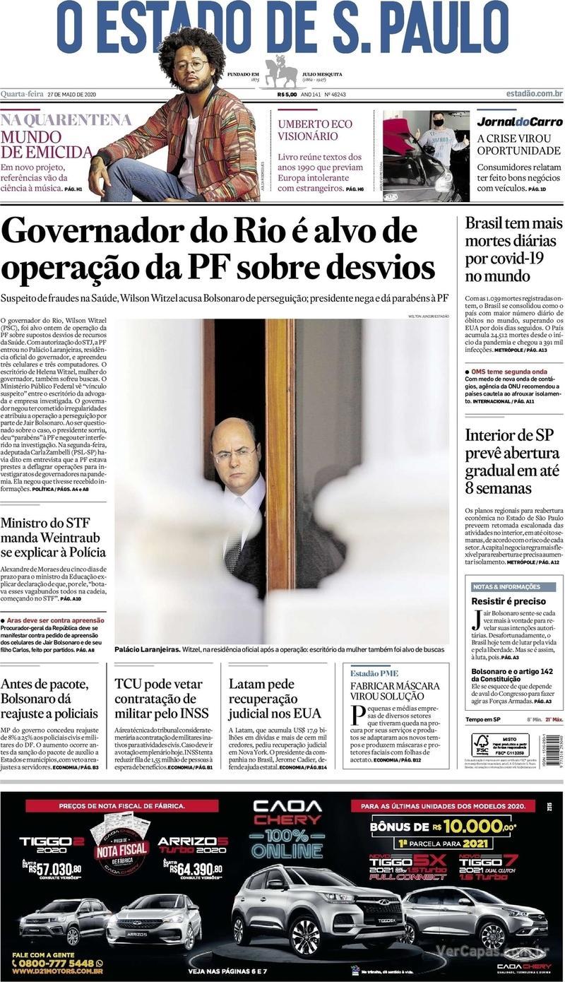 Capa do jornal O Estado de Sao Paulo 27/05/2020