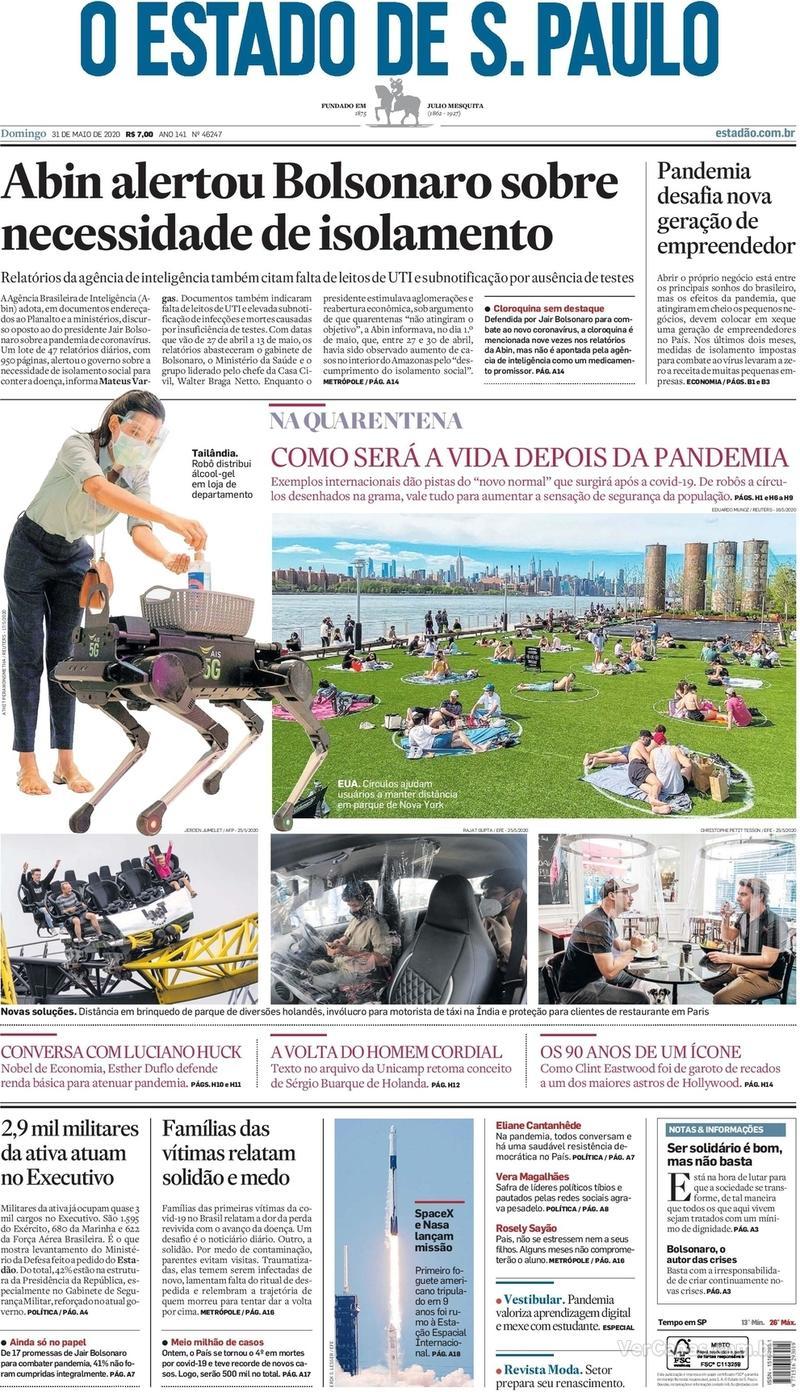 Capa do jornal O Estado de Sao Paulo 31/05/2020