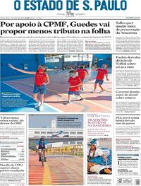 Capa do jornal O Estado de Sao Paulo 04/08/2020